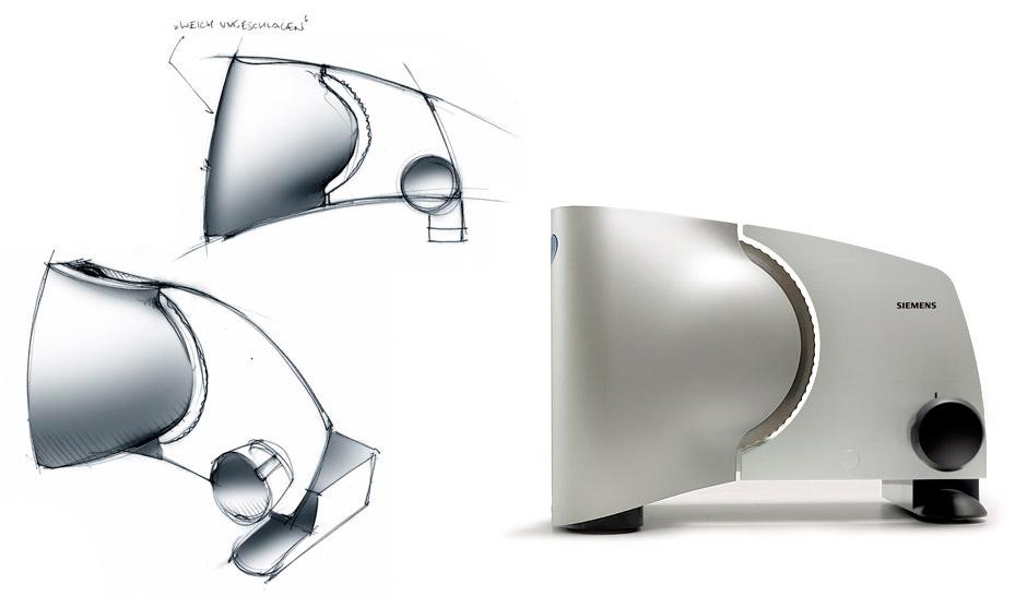Erste Skizze und finales Produkt Allesschneider MS4200 für Bosch Siemens Hausgeräte